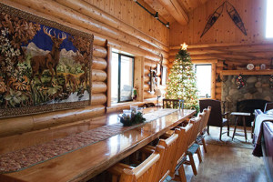Cabin dining table at Natapoc Lodging.