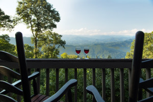 Cabin deck view at Smoky Mountain Getaways.