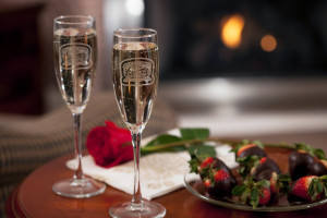 Champagne and chocolate strawberries at Inn At Lake Joseph.