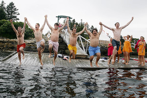 Jumping in the water at Newagen Seaside Inn.
