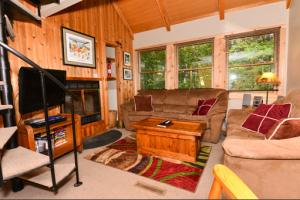 Cabin living area at Black Bear Resort Rentals.