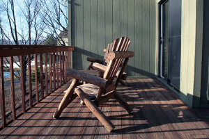 Cabin deck at Black Bear Resort Rentals.
