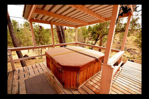 Rental hot tub at The Casas of 4 Seasons.