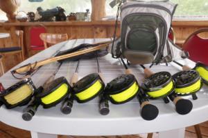 Fishing gear at Trail Lake Lodge.