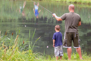 Fishing at Lake George RV Park.