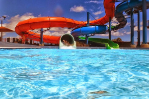 Water slides at Ocean Reef Resort.