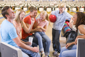 Family bowling at Eaglewood Resort & Spa.