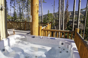 Rental hot tub at Big Sky Vacation Rentals.