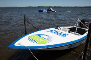 Boats on lake at Elmhirst's Resort.