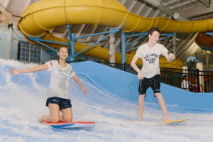 Waterpark surfing at Blue Harbor Resort and Spa.