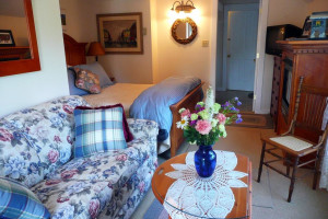 Notch Room at Farm by the River Bed & Breakfast with queen bed, big picture window in front of couch, private entrance with deck - great views to the horses and gardens. Pet friendly room
