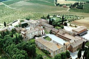Aerial view of Locanda dell'Amorosa.