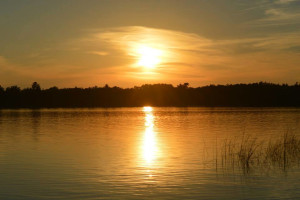 Sunset over the lake at Hyde-A-Way Bay Resort.