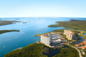 Aerial view of Marina Village Resort.