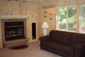 Cabin living room at White Birch Village Resort.