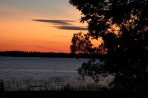 Sunset on the lake at Cedarwild Resort.