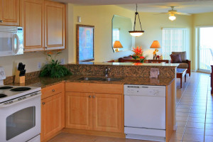 Guest kitchen at Sunset Vistas Beachfront Suites.