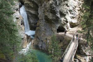 Johnston Canyon Upper Falls at Johnston Canyon Resort.