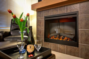 Relax by the fire at Sooke Harbour Resort & Marina.