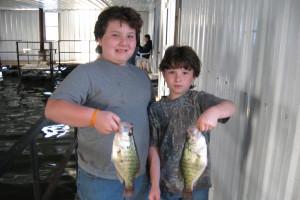 Kids crappie fishing at Alhonna Resort.