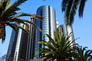 Exterior view of The Westin Bonaventure Hotel & Suites, Los Angeles.