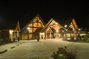 Exterior night view at Honey Creek Resort.
