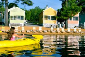 Cabins on the lake at Naswa Resort.