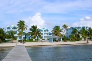 Exterior view of Sunset Beach Resort Ambergris Caye.