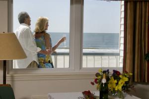 Ocean view room at Ocean Isle Inn.