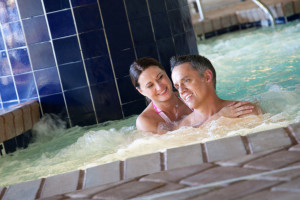 Couple in hot tub at Paradise Resort.