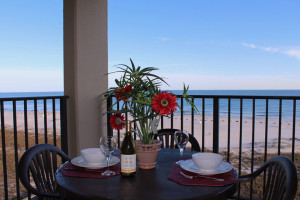 Deck view at Gulf Coast Beach Getaways.