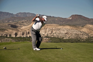 Playing golf at Lajitas Golf Resort & Spa.