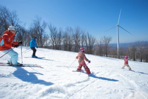 Skiing the slopes at Jiminy Peak Mountain Resort.