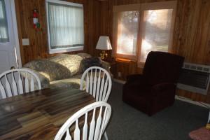 Cabin living room at Twin Oaks Resort & RV Park.