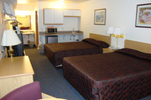 Double bedroom at the Couer d'Alene Budget Saver Motel.