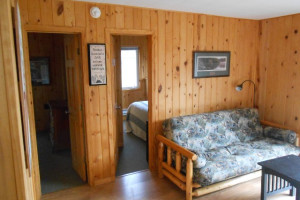Cabin bedroom at Hidden Haven Resort and Campground.