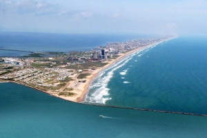 Aerial view of South Padre Island at Padre Getaways.
