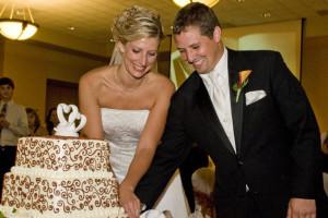 Wedding couple at Kalahari Waterpark Resort Convention Center.