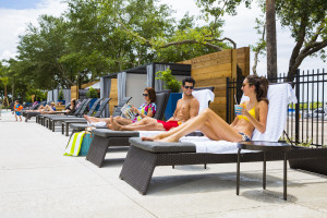 Relaxing by the pool at South Shore Harbour Resort & Conference Center.