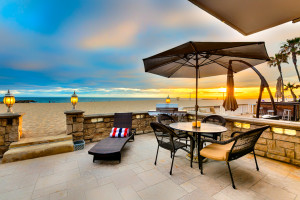 Rental patio on beach at Seabreeze Vacation Rentals, LLC-Orange County.