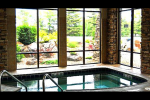 Indoor hot tub at Northernaire Resort.