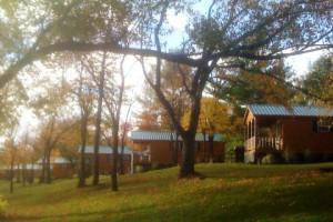 Cabin exterior at Darien Lake Resort.