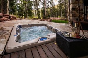 Rental hot tub at Park City Rentals by Owner.