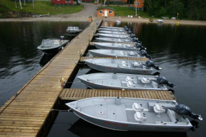 Docked Boats at Moosehorn Lodge