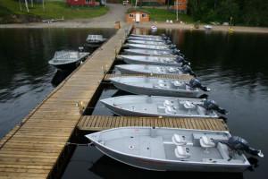 Docked Boats at Moosehorn Lodge