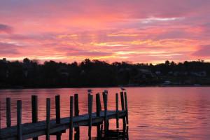 Lake sunset at Windrifter Resort.