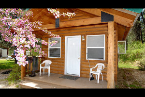 Cabin exterior at Sourdough Lodge.