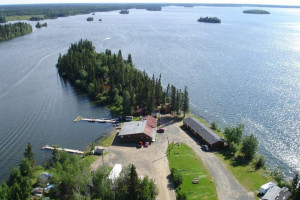 Aerial view of Caribou Lodge.