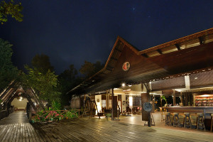 Exterior view of Sukau Rainforest Lodge.