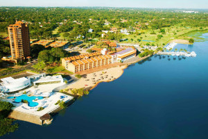 Aerial view of Hotel Resort & Casino Yacht y Golf Club Paraguayo.